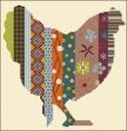 Colorful Column Chicken Cross stitch chart
