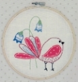 Embroidered Bird Picture Kit with emb hoop 16.5cm