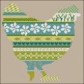 Green Floral Chicken Cross stitch chart