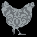 Grey Filigree Chicken Cross stitch chart