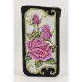 Pink Roses on Black Eyeglass Case Kit
