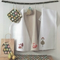 Tea Towel with Vertical Aida Zone - White with Natural Edge