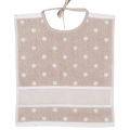 Towelling Bib Beige with White Spots